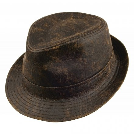 Chapeaux - Jaxon Weathered Cotton Trilby (marron)