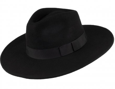 Chapeaux - Jaxon The Author Wide Brim Fedora Hat (noir)