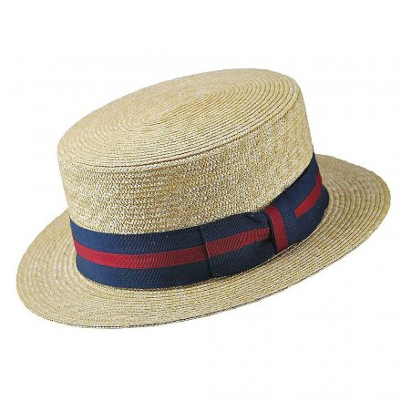 Chapeaux - Straw Boater Hat Striped Band (nature)