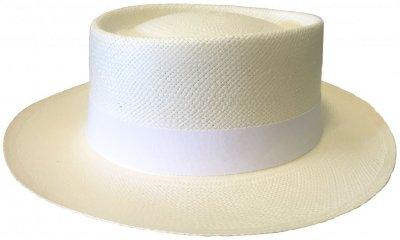 Chapeaux - Maki Round Crown Panama With White Band (blanc)