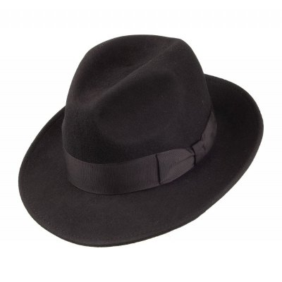 Chapeaux - Crushable Pinch Crown Fedora (noir)