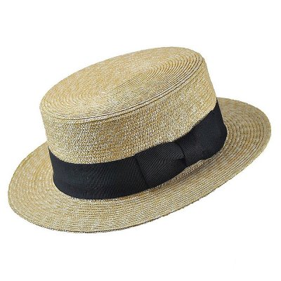 Chapeaux - Straw Boater Hat Black Band (nature)