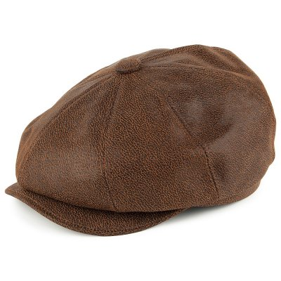 Casquette gavroche/irlandaise - Jaxon Hats Leather Newsboy Cap (marron)