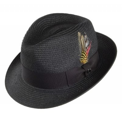 Chapeaux - Pinch Crown Straw Trilby (noir)