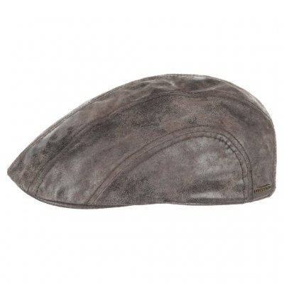 Casquette gavroche/irlandaise - Stetson Madison Leather Flat Cap (marron)
