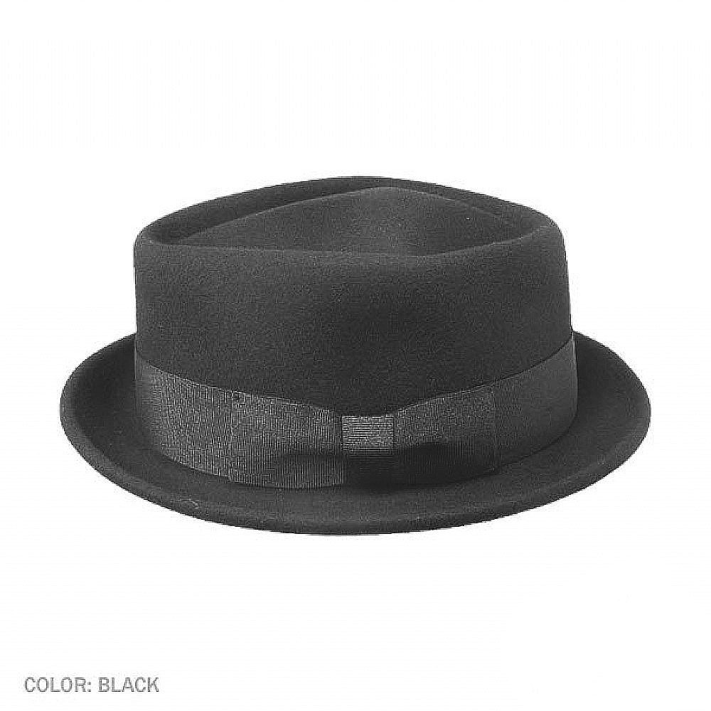 chapeaux jaxon diamond crown pork pie hat noir. Black Bedroom Furniture Sets. Home Design Ideas